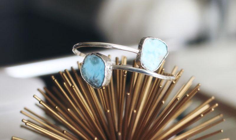 Larimar bracelet: Freeform cuff