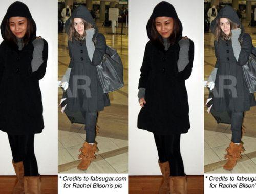 black swing coat, celebrity style, rachel bilson