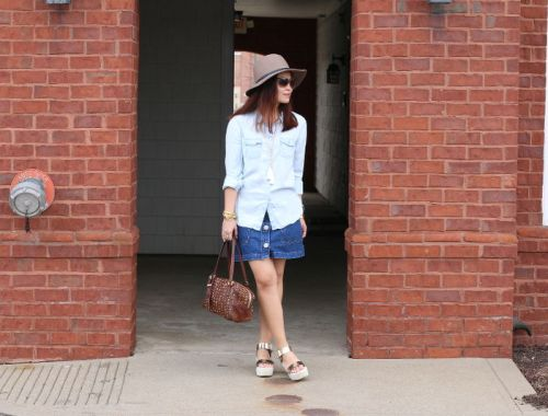 Denim on Denim Outfit, chambray button down shirt, denim skirt