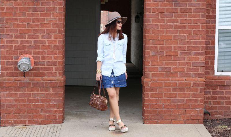 Denim on Denim Outfit, chambray button down shirt, denim skirt