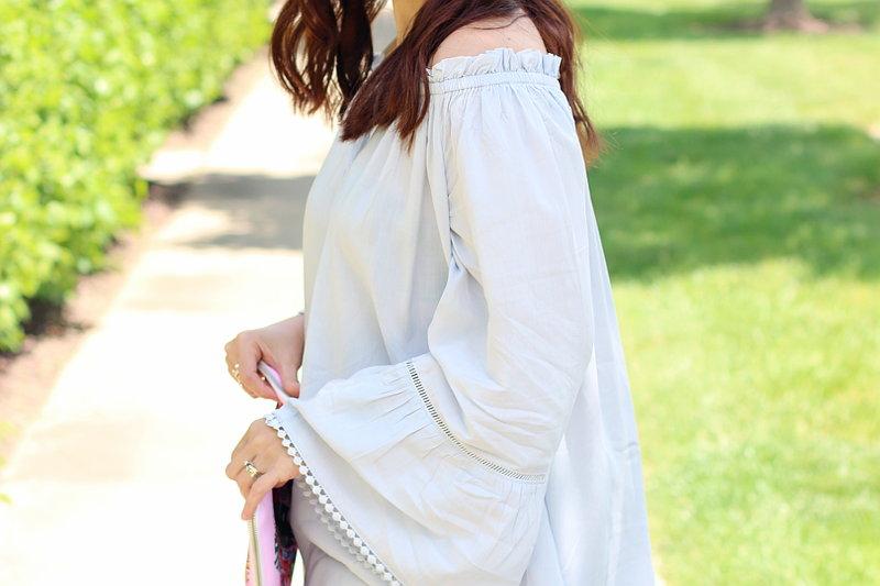 Shein light blue off shoulder top, bell sleeves, pompom trim