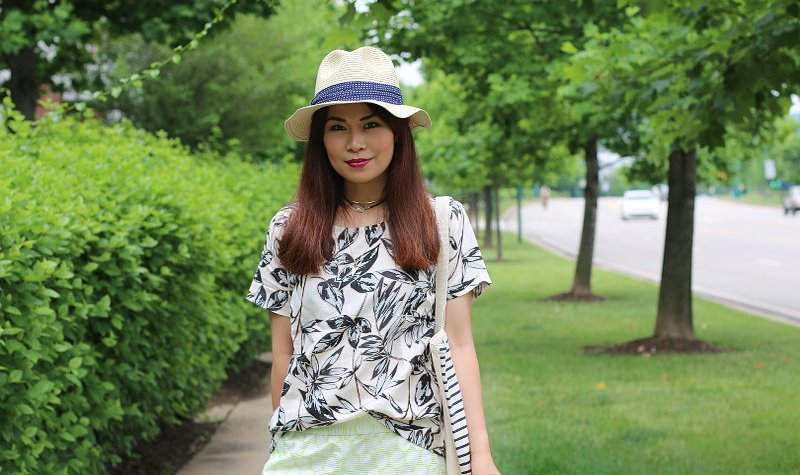 J. Crew linen top, polka dot shorts, Grove City Premium Outlets, Summer Outfit