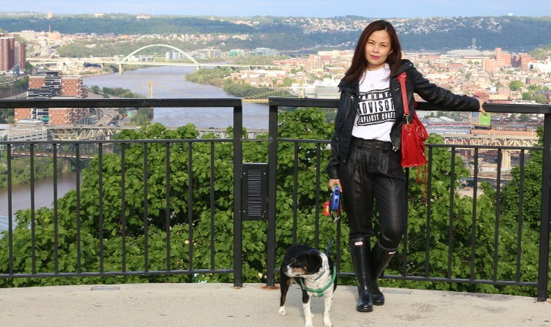 Parental Advisory Shirt, Fall Outfit, hunter boots, black faux leather jacket, Mount Washington Pittsburgh view