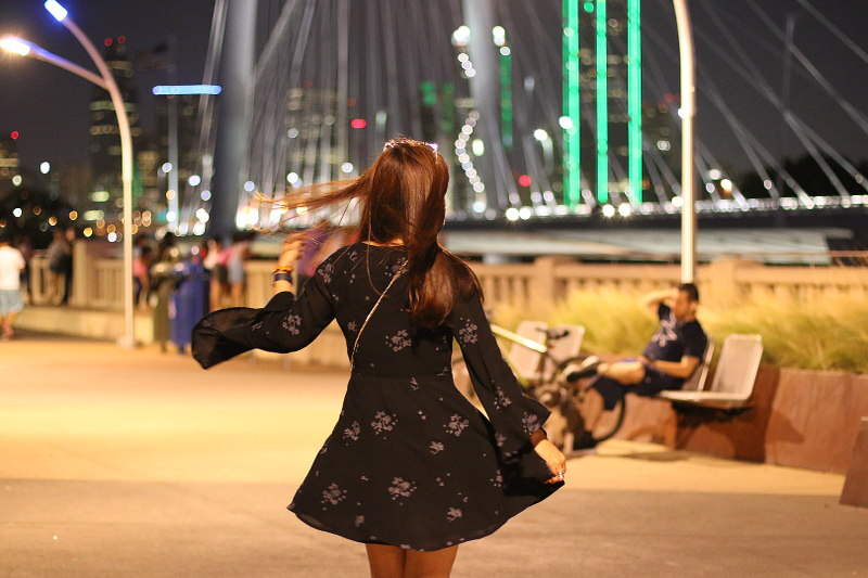 Free People Dress, bell sleeves, Dallas Margaret Hunt Hill bridge