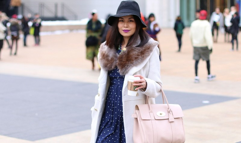 NYFW FW14, New york fashion week, outfit, OOTD, fashion, mulberry bag, fedora hat, floppy hat, faux fur stole, white coat