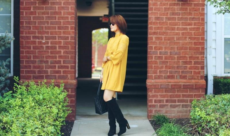 fall ready look, Versona dress, mustard yellow, pumpkin yellow outfit