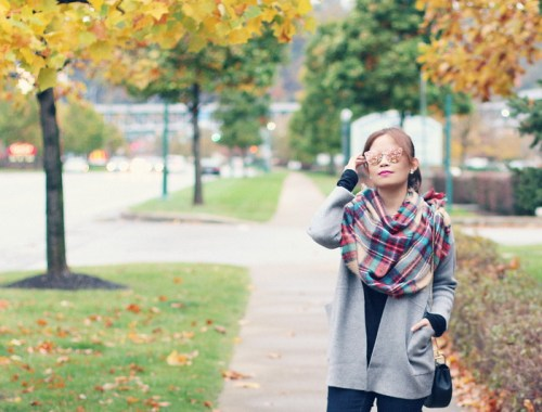 fall outfit, plaid scarf blanket, gray cardigan, mirrored sunglasses