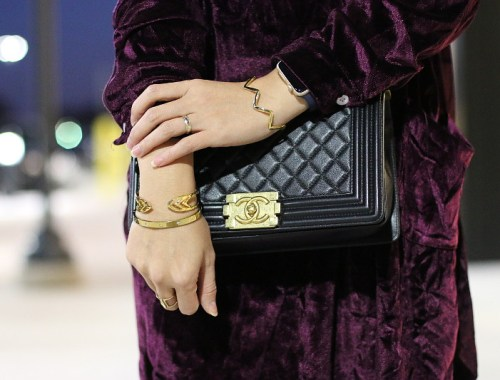 Velvet Dress, Chanel Boy Bag
