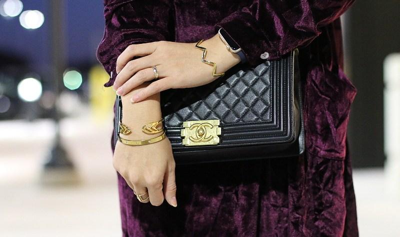 Velvet Dress, Chanel Boy Bag