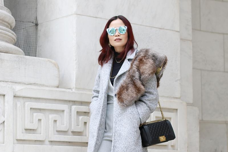 Macy's Backstage, Trina Turk jumpsuit, Catherine Malandrino coat, faux fur stole, Chanel boy bag, Quay sunglasses