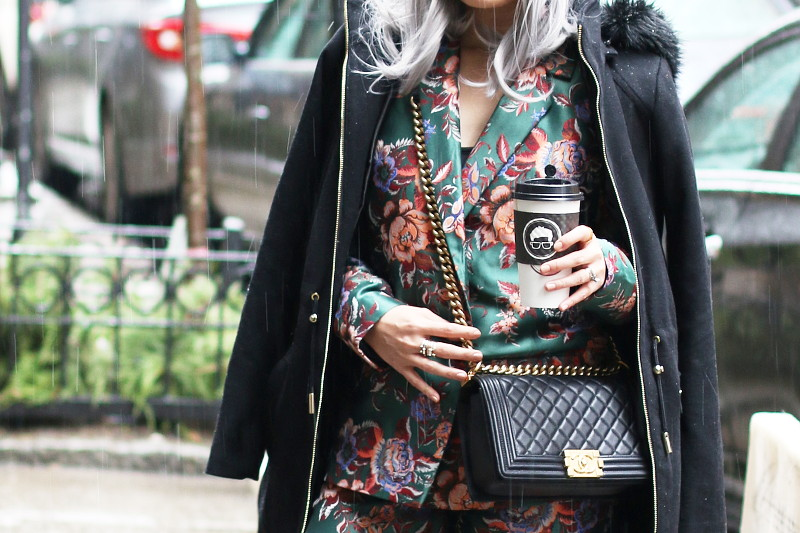 ASOS jacquard floral suit, Chanel Bag, black coat