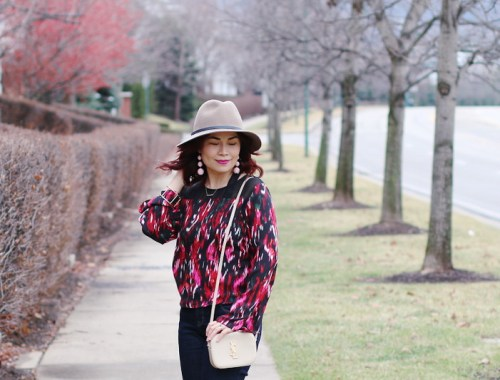 Valentines Day Blouse, Saint Laurent Monogram Bag, fedora Hat