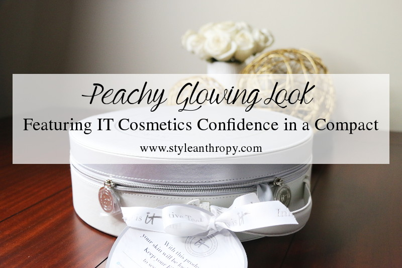 IT cosmetics confidence in a compact, Peachy Glowing Makeup Look, foundation, serum, makeup