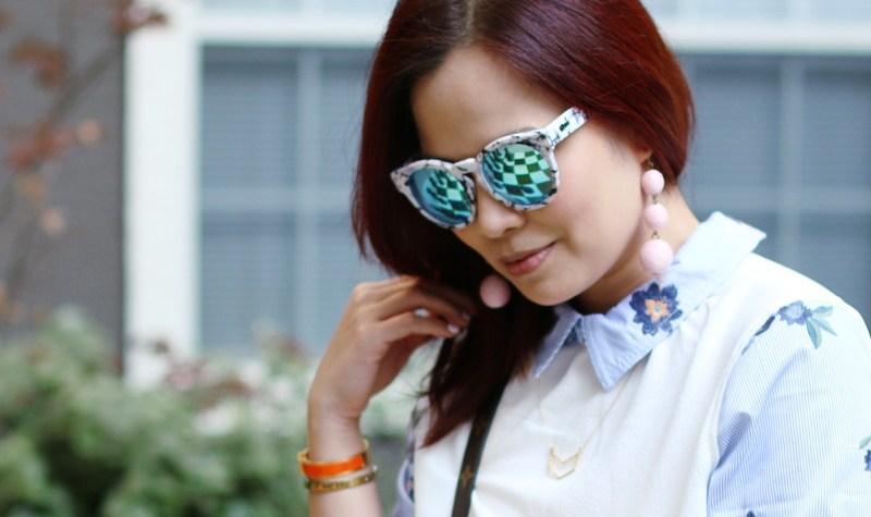 Mirror Sunglasses Floral Dress Drops Earrings