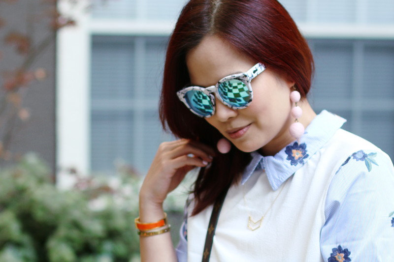 Mirror Sunglasses Floral Dress Drops Earrings