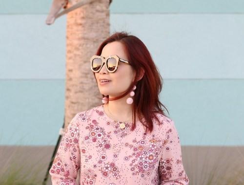Pink Floral Dress, Karen Walker Sunglasses