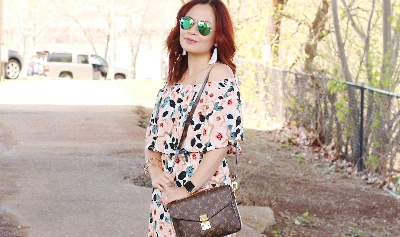 Steel Magnolia floral print off the shoulder dress, Rayban aviator sunglasses, tassel earrings, Louis Vuitton Pochette Metis Bag