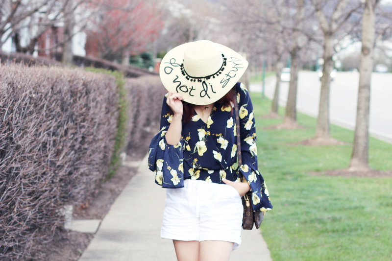 Do Not Disturb Hat, Bell Sleeve Floral Top