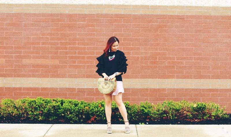 ruffle top, ruffle shorts, ark bag