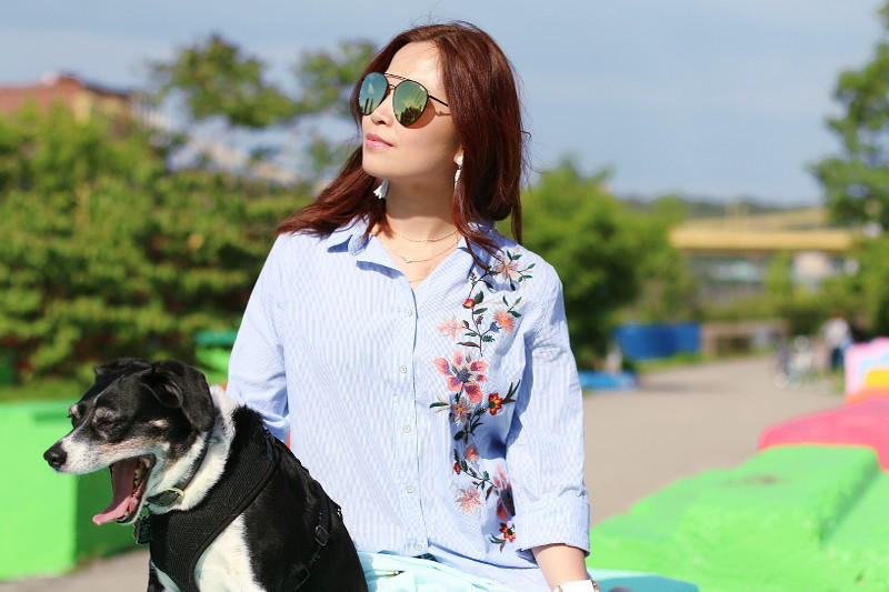 Embroidered Button Down Shirt, Louis The Beagle, outfit, quay sunglasses