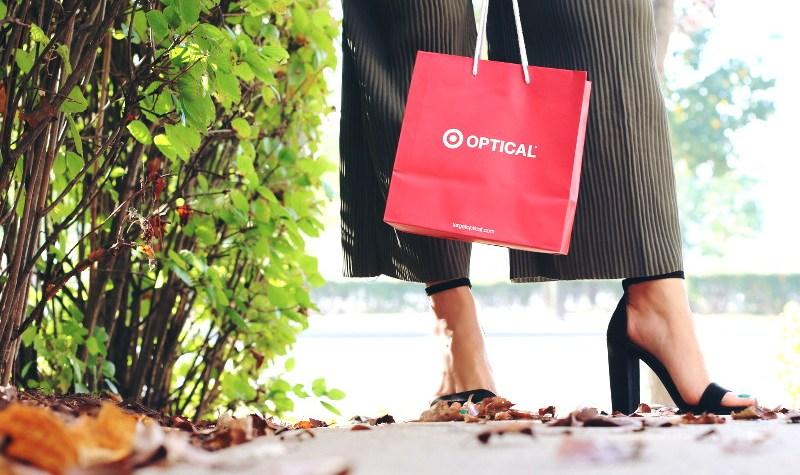 Target Optical, strappy block heel sandals, pleated wide leg pants