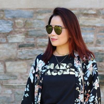 Marc Jacobs shirt, T.J. Maxx Kimono, quay sunglasses