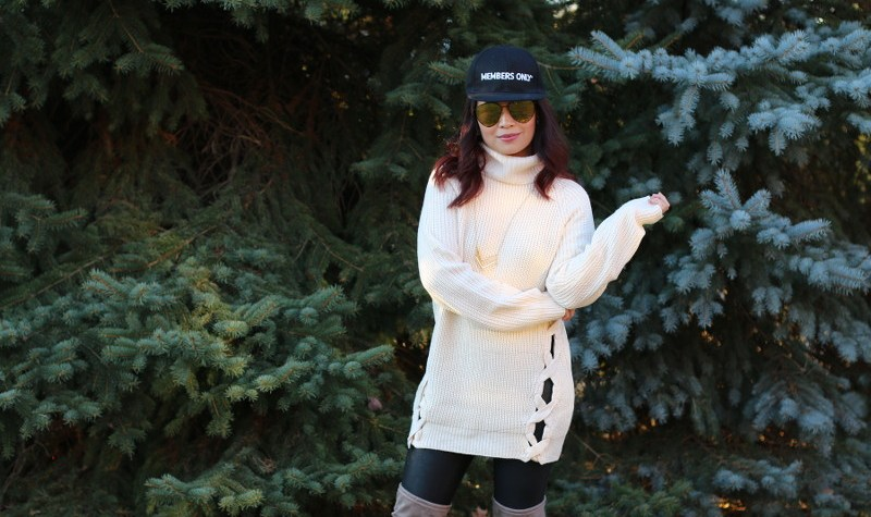 Members Only Cap, Tobi Sweater, Faux Leather Leggings, OTK Boots