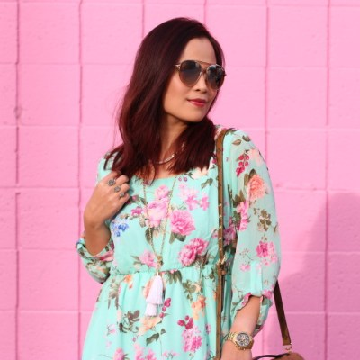 PinkBlush Floral Dress, pink wall, outfit