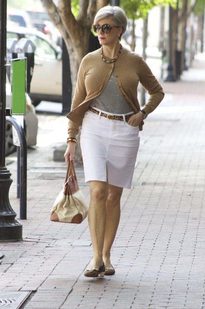classic white denim skirt