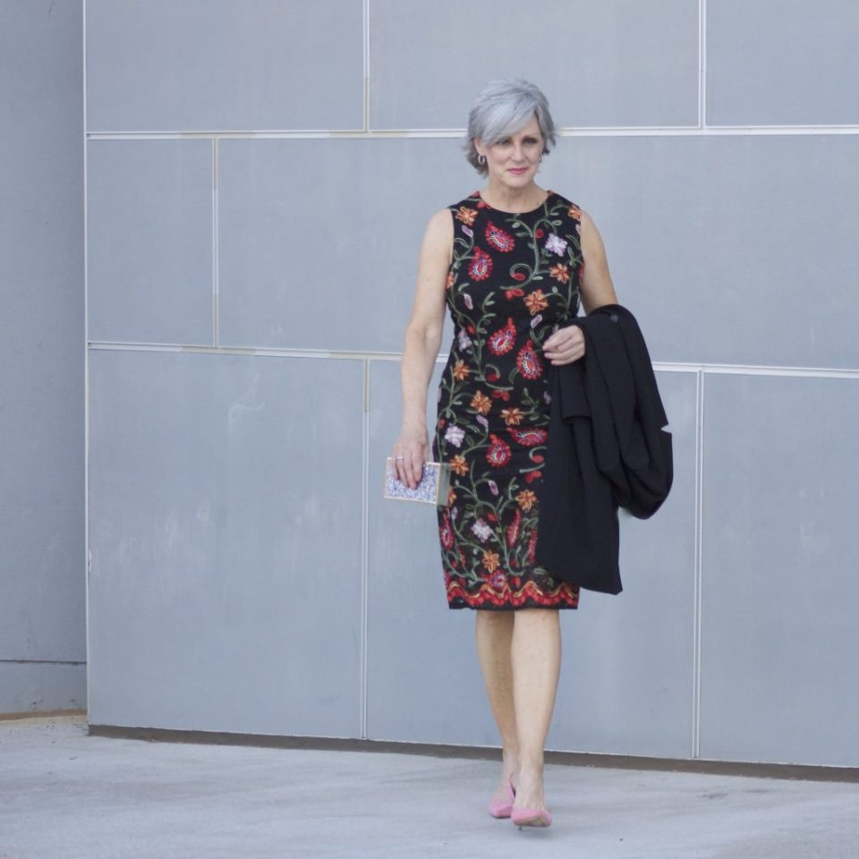 M&S floral dress/black coat
