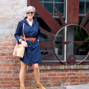 how to wear a denim shirtdress
