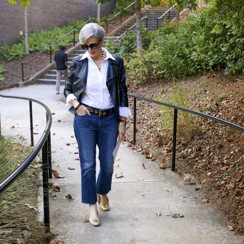 how to wear a moto jacket and blue jeans