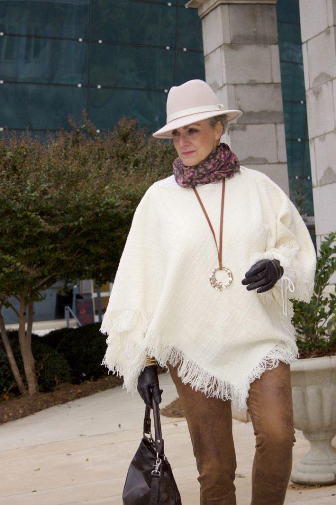 ralph lauren poncho chico's faux leather leggings