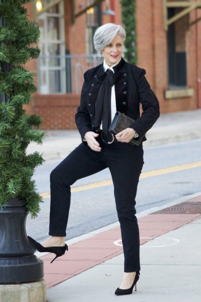 ralph lauren velvet military blazer, ralph lauren bow tie blouse, nydj, talbots suede pumps