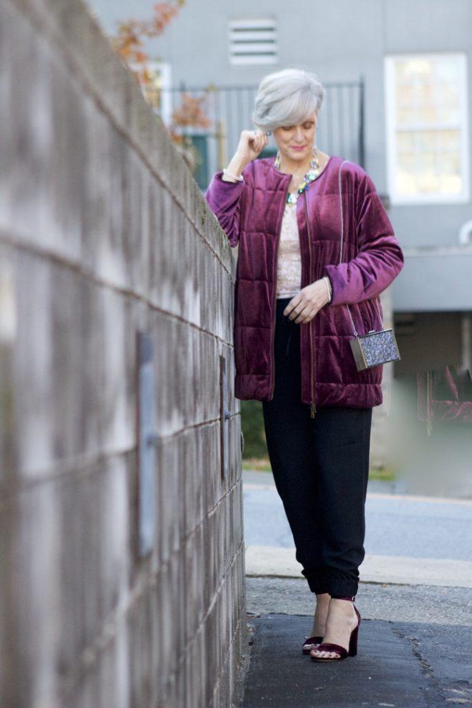 velvet jacket, silk joggers, holiday attire