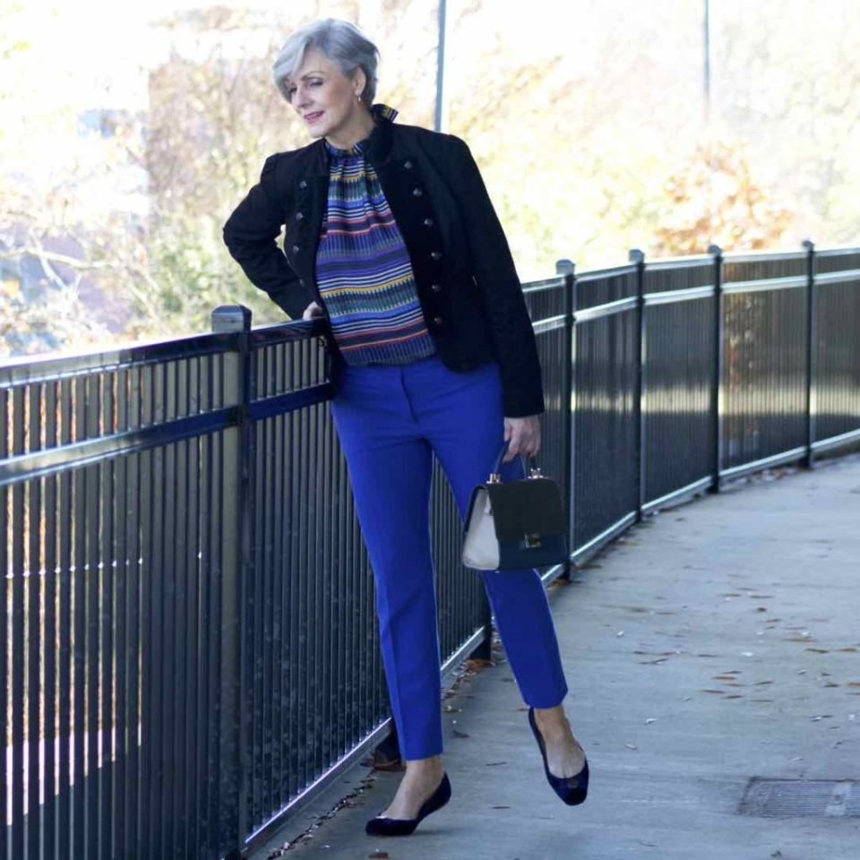 ralph lauren velvet jacket, loft cobalt blue pants, loft striped pants, kate spade velvet flats