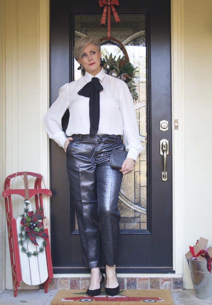 ralph lauren bow tie blouse, loft glitz 'n glam pants,