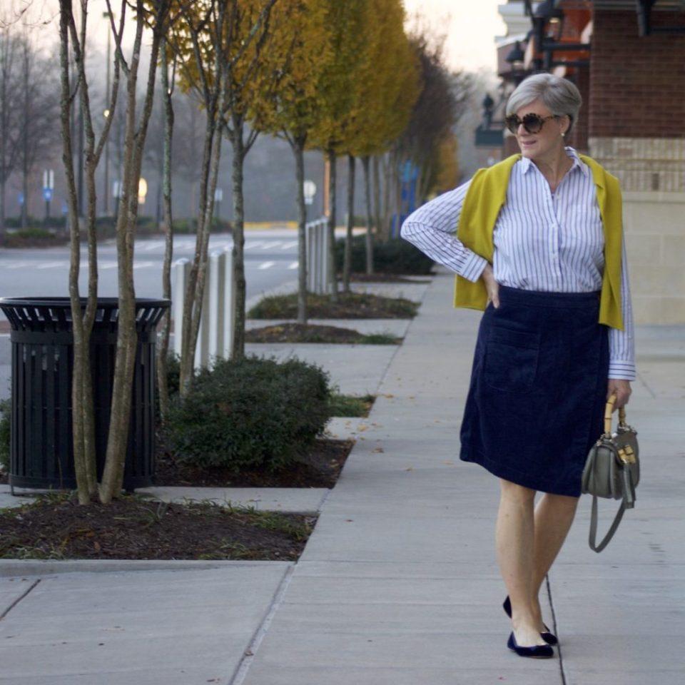 anthropologie skirt, madewell striped shirt, j.crew cashmere sweater, kate spade velvet ballet flats