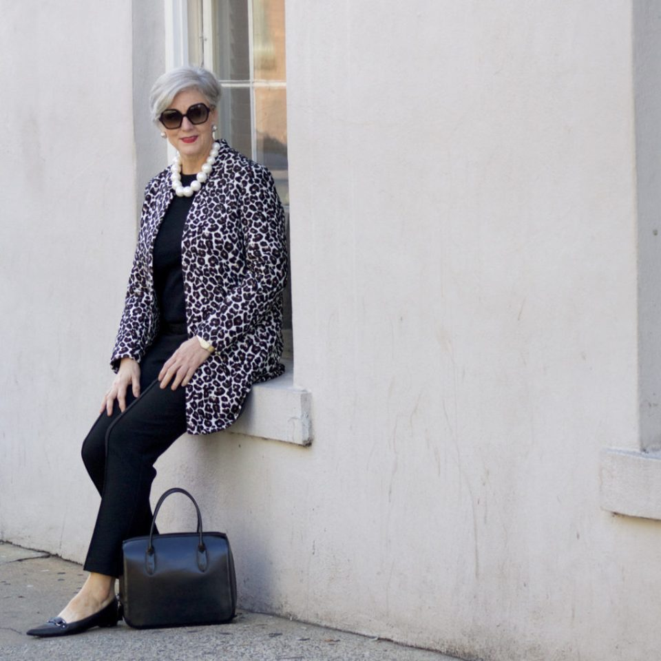 dorothy perkins leopard coat, ann taylor black pants, black cashmere sweater, j.crew pointy toe flats
