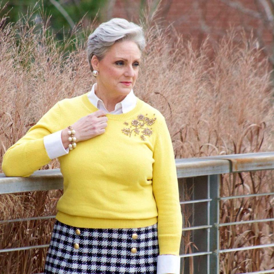 talbots houndstooth skirt, talbots seqiun sweater, navy peacoat, hermes silk scarf