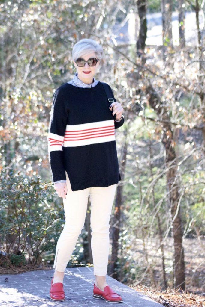ann taylor striped sweater, j.crew striped shirt, j.crew cargo pants, coach loafers