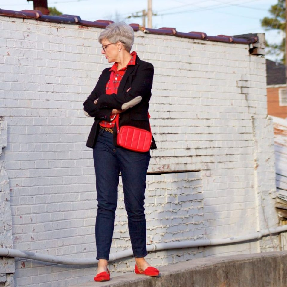 j.crew red tartan plaid shirt, banana republic black blazer, j.crew toothpick jeans, j.crew red suede shoes, talbots red camera bag