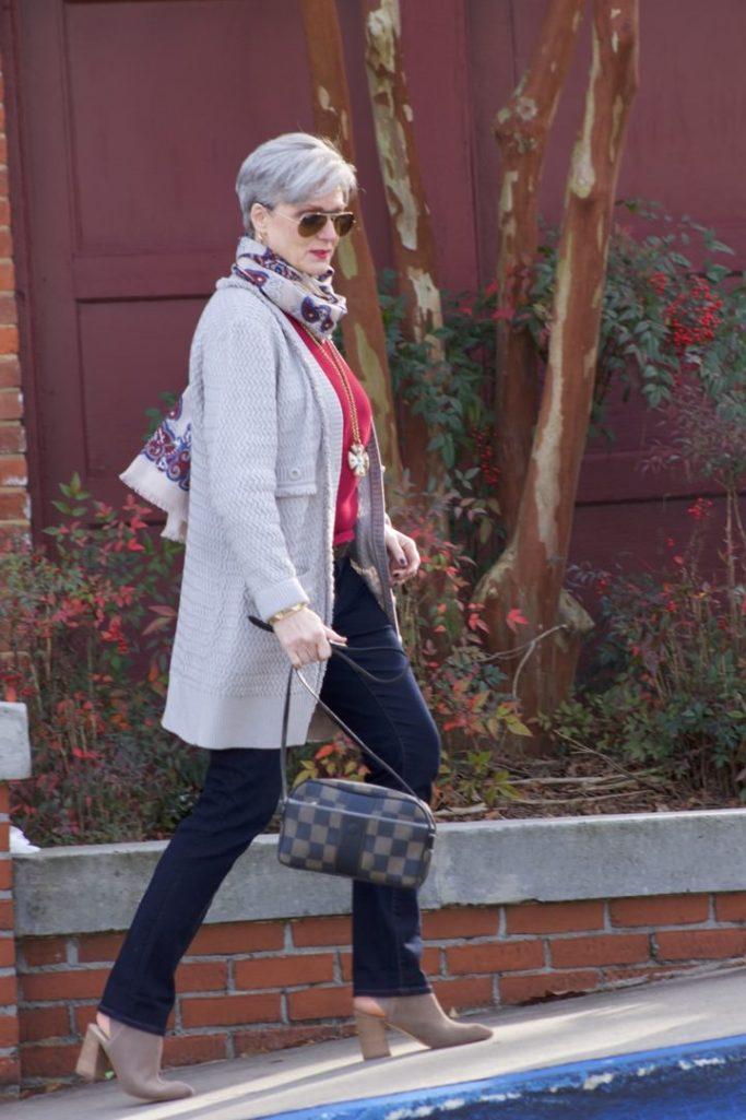 st. john knits cardigan, ralph lauren sweater, ann taylor denim, marc fisher booties, j.crew scarf