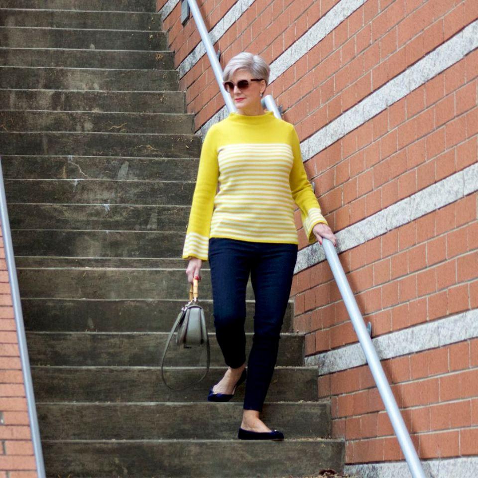 boden yellow stripe sweater, ann taylor sailor denim, kate spade velvet flats, gucci handbag
