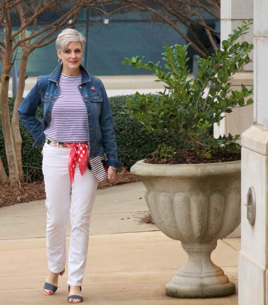 ann taylor white denim, urban outfitters stripe tee, old navy denim jacket, talbots scarf and clutch, target block heel sandals