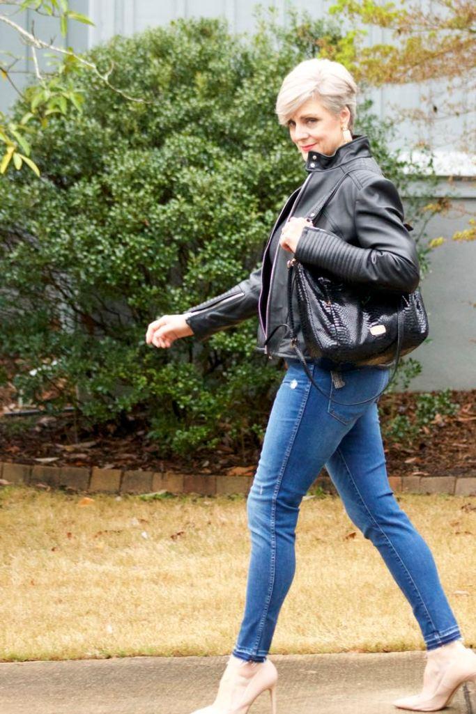 madewell button front denim, madewell top, vince camuto leather moto jacket, zara nude pumps, michael kors hobo handbag
