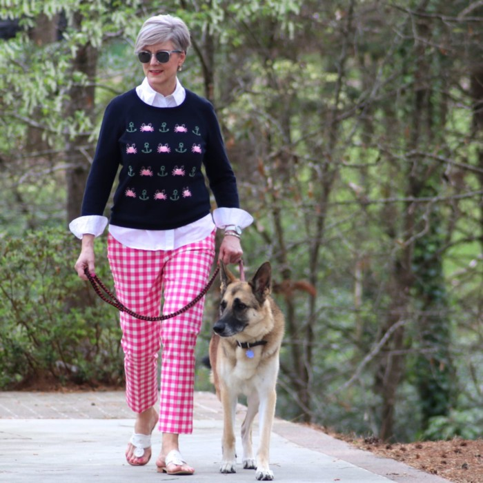 boden gingham pants, talbots embroidered sweater, talbots white shirt, jack rogers sandals