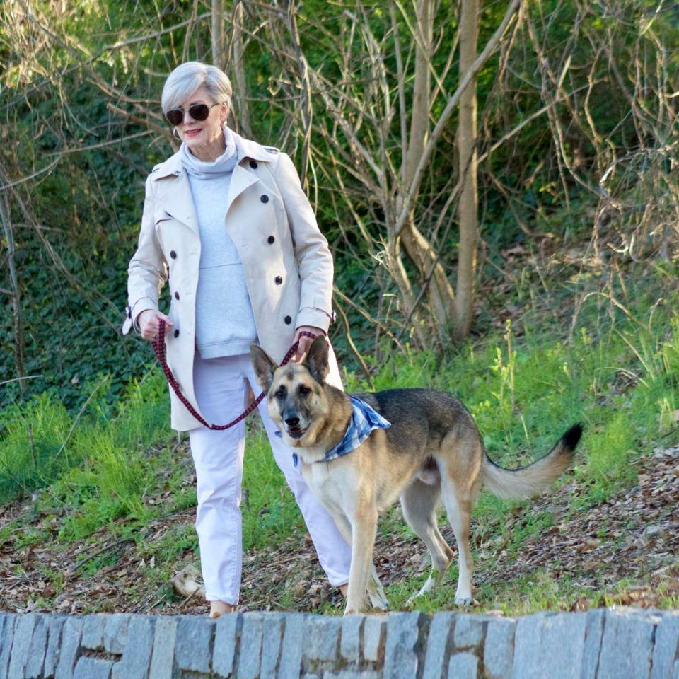 trench coat, talbots white boyfriend jeans, athleta sweatshirt, leopard calf hair flats