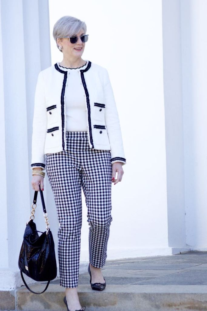 talbots gingham pants, zara rick rack sweater. talbots fringe blazer, gucci black pumps, michael kors hobo ban