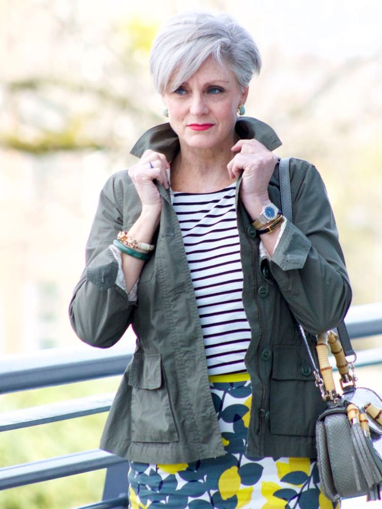 boden pencil skirt, boden breton tee, talbots utility jacket, gucci bamboo handle handbag, boden yellow suede sandals